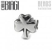 Carlo Biagi Bead Kleeblatt Silber European Beads BBS160