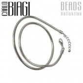 Carlo Biagi 38cm Karabiner Bead Halskette 925 BNLEX38