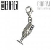 Carlo Biagi Charm Anhänger Champagner Glas 925 CSCZ11C