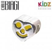 Carlo Biagi Kidz Bead Herz gelb 925 Beads für Armband KBE021