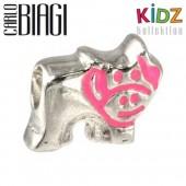 Carlo Biagi Kidz Bead Kuh pink Silber Beads für Armband KBE051