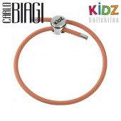 Carlo Biagi Kidz Bead Armband Kautschuk orange Silber KBRRLO