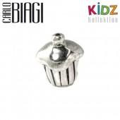Carlo Biagi Kidz Bead Muffin Silber Beads für Armband KSB02