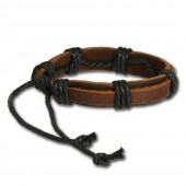 SilberDream Lederarmband braun Herren Leder Armband LA0037B