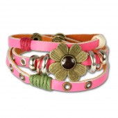 SilberDream Lederarmband pink Blume Damen Leder Armband LA2913P