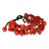 SilberDream Stein Perlen Armband Geflecht rot SDA015