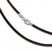 SilberDream Leder Armband 21cm braun 2mm für Charms SML7821
