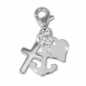 SilberDream Charm Anker, Herz, Kreuz Armband Anhänger 925 FC506