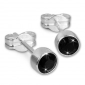 SilberDream Ohrringe Zirkonia schwarz 925 Silber Ohrstecker SDO503S