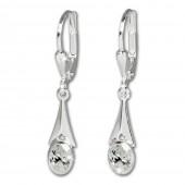 SilberDream Ohrhänger Zirkonia Stein weiß Ohrring 925 Silber SDO514W