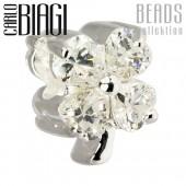 Carlo Biagi Bead Kleeblatt weiß Zirkonia European - Beads BBSCZ106C