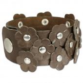 SilberDream Lederarmband Blume braun Damen Leder Armband LA2915B