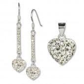 SilberDream Set Herz Anhänger Ohrringe Zirkonia Silber weiß GSS041