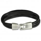 SilberDream Lederarmband schwarz Herren Leder Armband LA4292S