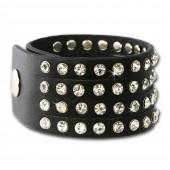 SilberDream Lederarmband schwarz Zirkonia Damen Leder Armband LAP230S