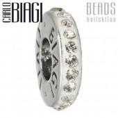 Carlo Biagi Zirkonia Bead Kristall Rondell wei Europ Beads BBCRD01C