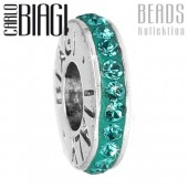 Carlo Biagi Zirkonia Bead Kristall Rondell aqua Europ Beads BBCRD01AQ