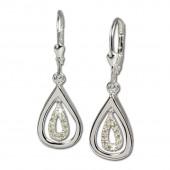 SilberDream Ohrhänger Träne Zirkonia weiß 925 Silber Ohrring SDO325