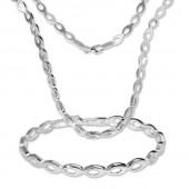 SilberDream Schmuck Set Collier Armband oval offen 925 Silber SDS401