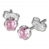 SilberDream Ohrringe Kugel rosa 925 Sterling Silber Ohrstecker SDO533A