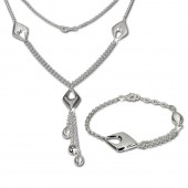 SilberDream Schmuck Set Drop Collier Armband 925 Silber SDS413