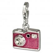 SilberDream Charm Fotoapparat PINK 925er Armband Anhänger FC660