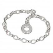 SilberDream Armband mit Plakette 925 Silber Charm Bettelarmband 22cm FC0705