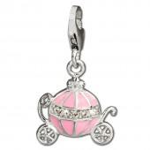 SilberDream Charm Kutsche rosa 925 Silber Armband Anhänger FC674