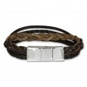 SilberDream Lederarmband braun Zierkordeln Leder Stahl Armband LAP001B