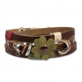 SilberDream Lederarmband braun Blume Damen Leder Armband LA2913B