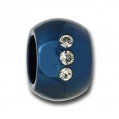 Amello Megabead Stahl Kugel blau Swarovski Elements Armband AMZ025B
