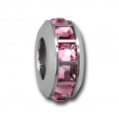 Amello Megabead Stahl Rad Swarovski Elements rosa Armbandbead AMZ312A
