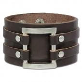 SilberDream Lederarmband braun Unisex Leder-Stahl Armband LA5090B