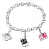 SilberDream Charm Set Reise 925er Silber Armband Anhänger FCA301