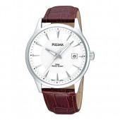 Pulsar Herrenuhr mit Lederband rot Klassik Uhren Kollektion UPS9029