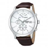 Pulsar Herrenuhr mit Lederband weiss Modern Uhren Kollektion UPS6015