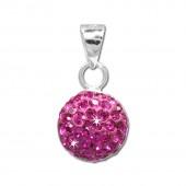 SilberDream Glitzer Anhänger rund Zirkonia Kristalle pink 925 GSH206P