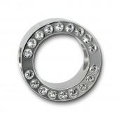 Amello Megabead Stahl Swarovski Elements Rad weiß Armband AMZ105W