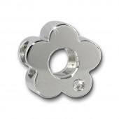 Amello Megabeads Stahl Blume weiß Swarovski Elements Armband AMZ059W