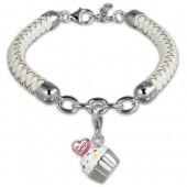 SilberDream Geschenkset Cupcake Charm Lederarmband 925 Silber FCA152