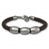 SilberDream Lederarmband Edelstahl Perle braun Leder Armband LAP007B