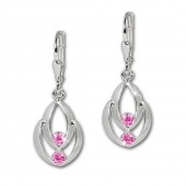 SilberDream Ohrhnger Glamour Zirkonia pink Ohrring 925 Silber SDO522P