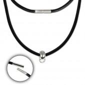 SilberDream Leder Kette schwarz mit Charms-Verbinder 925 Silber FCA157