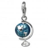 SilberDream Charm Globus blau 925er Silber Armband Anhänger FC833B