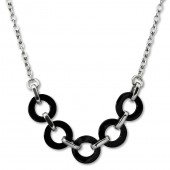 Amello Halskette Keramik Ring schwarz Damen Edelstahlschmuck ESKX01S