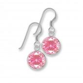 SilberDream Ohrhnger Rondell Zirkonia rosa 925 Silber SDO8602A