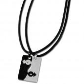 Amello Halsketten-Set Sexus schwarzweiß Edelstahlschmuck Unisex ESK002S