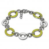 Amello Armband Oval Emaille gelbweiß Damen Edelstahlschmuck ESAG01Y