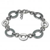 Amello Armband Oval Emaille grauweiß Damen Edelstahlschmuck ESAG01K