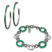 Amello Edelstahlschmuckset Emaille Oval grün Armband, Ohrringe ESSG05G